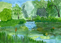Summer landscape gouache sketch imitation of children s drawin drawings Royalty Free Stock Photography