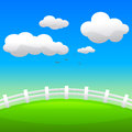 Summer landscape the green hill with fence season vector illustration Royalty Free Stock Image