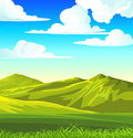 Summer landscape with green meadow Royalty Free Stock Photo