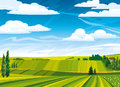 Summer landscape with green meadows Stock Image