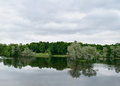Summer landscape with lake and sky in Gatchina park Royalty Free Stock Photo