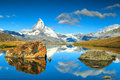 Summer landscape with Matterhorn peak and Stellisee lake,Valais,Switzerland Royalty Free Stock Photo