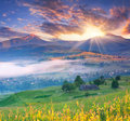 Summer landscape in the mountains mountain village Royalty Free Stock Photo