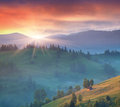 Summer landscape in the mountains mountain village sunrise Royalty Free Stock Image