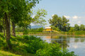 Summer landscape at one of the backwaters of the Tisza river in Tiszalok, Hungary Royalty Free Stock Photo