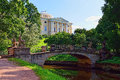 Summer landscape of the pavlovsk garden russia view to the pal sunny palace Stock Image