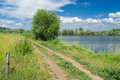 Summer landscape - peaceful place beside lake. Stock Image