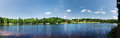 Summer landscape with a pond - panoramic view Royalty Free Stock Photo