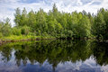 Summer landscape with river in the north of the republic of karelia russia Royalty Free Stock Photo