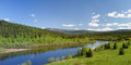 Summer landscape river vishera ural mountains panorama Stock Image