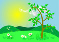 Summer landscape. Vector illustration. Stock Images