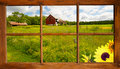 Summer landscape through a window lovely country seen an old farmhouse Stock Photos