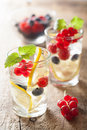 Summer lemonade with berry and lemon Royalty Free Stock Photo