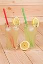Summer lemonade on wooden background close up Stock Image
