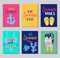Summer lettering card. Hand drawn gift tags, banners and labels with fun elements. Bright summertime poster. Summer Royalty Free Stock Photo