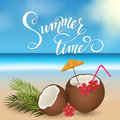 Summer lettering, coconut cocktail and palm branches. Tropical background, blue ocean landscape.