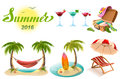 Summer 2016 lettering text. Set of objects symbol of summer vacation