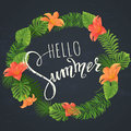 Summer lettering. Tropical palm leaves background