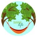 Summer life vector illustration with hammock hanging between green trees Royalty Free Stock Photo