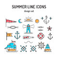 Summer line icon set. Nautical design elements in Royalty Free Stock Photo
