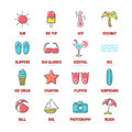 Summer line icons with flat colors