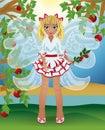 Summer little fairy girl, vector