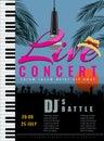 Summer live musical concert poster template. Vector illustration