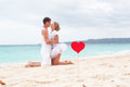 Summer love on beach tropical focus heart Stock Image