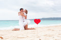 Summer love on beach tropical focus heart Royalty Free Stock Images