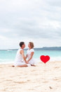 Summer love on beach tropical focus heart Royalty Free Stock Photos