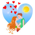 Summer love sweet couple kissing in heart shaped season scene Stock Images