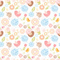 Summer lovely floral seamless pattern with birds and flowers Royalty Free Stock Image
