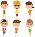 Summer male characters vector illustration.