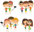 Summer male and female characters make a selfie vector illustrat