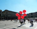 Summer in milano a lot of people walking the center of the city italy Royalty Free Stock Images