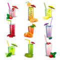 Summer milkshakes drinks flat icons set best long glasses fresh fruit cocktail and abstract isolated vector illustration Stock Image