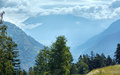 Summer misty mountain landscape alps switzerland Stock Photos