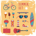 Summer  mood board. Icon set. Royalty Free Stock Photo
