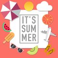 Summer mood style advertisement with many objects