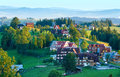 Summer morning mountain village view poland hazy gliczarow gorny Royalty Free Stock Photography