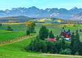 Summer morning mountain village view poland hazy and tatra range behind gliczarow gorny Stock Images