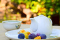 Summer morning tea cup teapot plums and apricots on a platter Stock Image