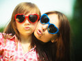 Summer. Mother and kid in sunglasses making funny faces Royalty Free Stock Photo