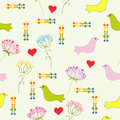 Summer motive with bird flowers and heart Stock Images