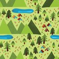 Summer mountain Camping seamless vector pattern