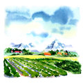 Summer mountains green field, blue sky, nature landscape, watercolor illustration Royalty Free Stock Photo
