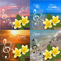 Summer music party template with realistic frangipani, notes and key. Vector illustration.
