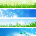 Summer nature banners abstract green with grass and blurry lights Stock Images
