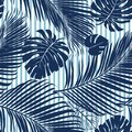 Summer Navy blue tropical forest leaves bright mood on sky blue stripe seamless pattern fashoin fabric, wallpaper and card. Royalty Free Stock Photo