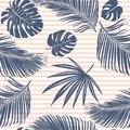 Summer Navy pink tropical forest leaves bright mood on sky blue stripe seamless pattern for fashoin fabric, wallpaper and card.